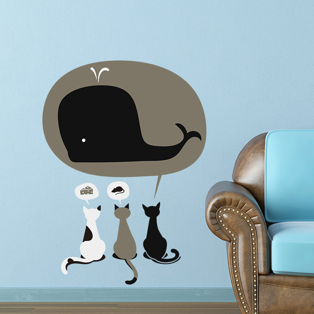 Funny Cat Dream Eating Cake Mouse Shark Wall Stickers For Kids Rooms Home  Decoration Wall Decals Part 82