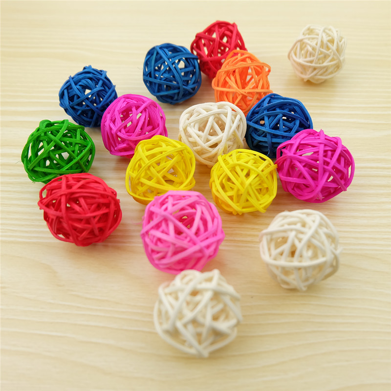 10pcs/lot 3cm Multicolor Round Rattan Ball Separk Takraw for DIY Christmas Ornaments Birthday Party Home Decoration Kid Toys
