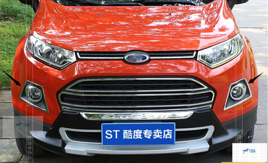 6pcs! Chrome Front & Rear Fog Light Lamp Cover Trim For ford Ecosport 2013 2014 car rear warning lamp for ford ecosport 2013 2015 external automobiles for anti collision rear end auto safe driving lights