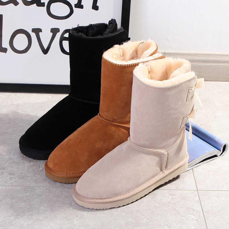 Begocool kadınlar için kar botları avustralya sıcak kışlık botlar tasarım ayakkabı 100% hakiki inek süet deri bayan botas