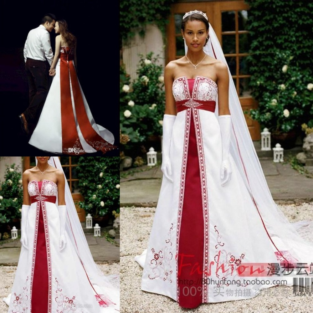 25fcba3704 Strapless Sleeveless 2017 Red And White Wedding Dresses Stain Corset  Embrdiery Custom Court Train Bridal Gowns