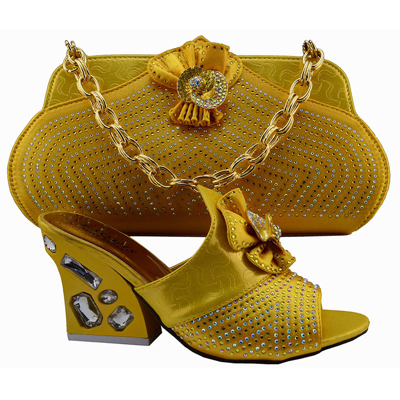 ФОТО New style beautiful African woman matching italian shoe and bag set for wedding/party yellow shoes KK1-34