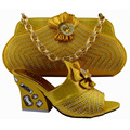 New style beautiful African woman matching italian shoe and bag set for wedding/party yellow shoes KK1-34