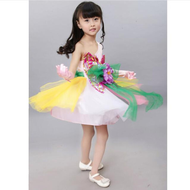 fdf677c19 Trendy Beautiful Slim Colorful Flowers Fairy Girl One-shoulder Dance Dress  Baby Girl First Date Princess Dresses Chorus Clothing