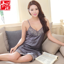 2016 Elegant Luxury Silk nightgowns Women Sleepwear Silk Solid Ladies within Temptation Sling Sleepshirts
