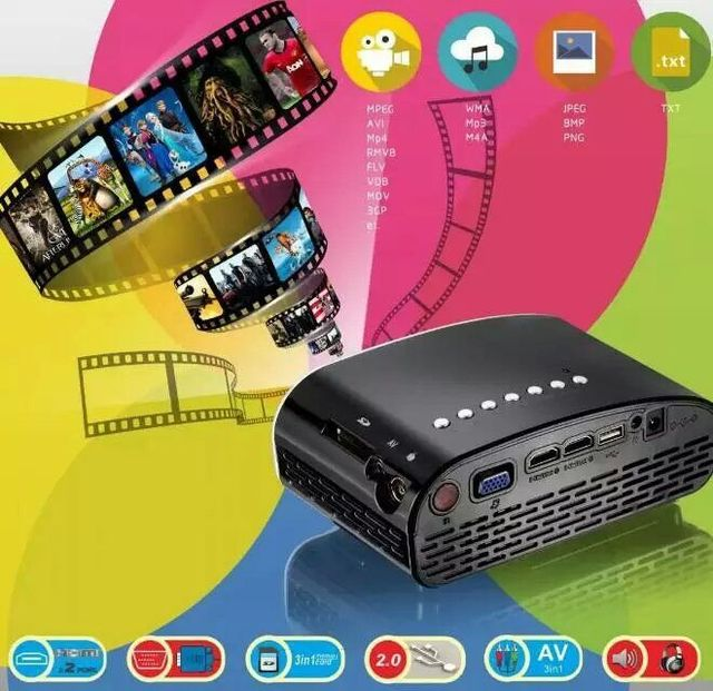 DHL Libre Super Mini Proyector Portable 120 Lúmenes LED Proyector Digital 480x320 Resolución de Doble Puerto HDMI, TV y VGA Puerto