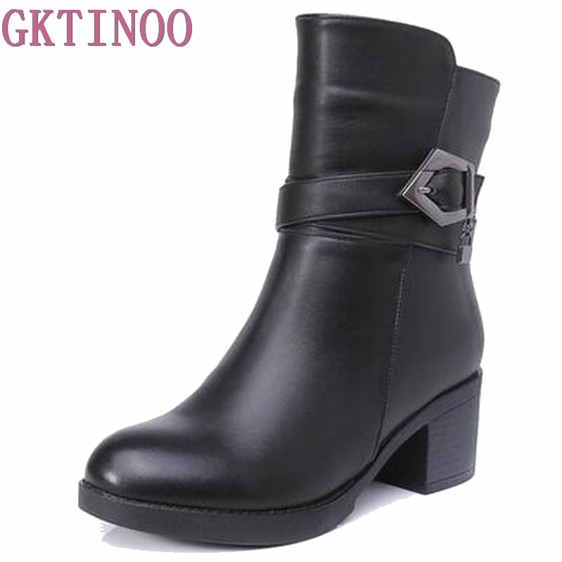 Plus size(35-40) autumn winter women genuine leather high heel snow boots 2017 new fashion ankle boots warm shoes women boots new 2017 autumn winter women genuine leather boots unisex martin boots motorcycle retro shoes high quality plus size 35 44