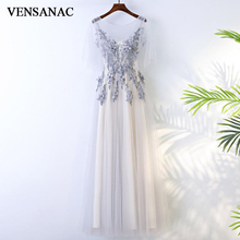VENSANAC 2018 O Neck Flowers Appliques A Line Long Evening Dresses Elegant Lace Party Pearls Backless Prom Gowns