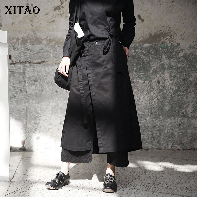 XITAO New Women 2018 Autumn Korea Fashion Elastic Waisted Straight Ankle length Pants Female Solid