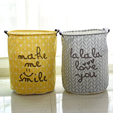 Cotton Linen Vintage Storage Laundry Basket Large Capacity Yellow Grey Arrow With Handle Crown LinenFold Bin 40x50cm