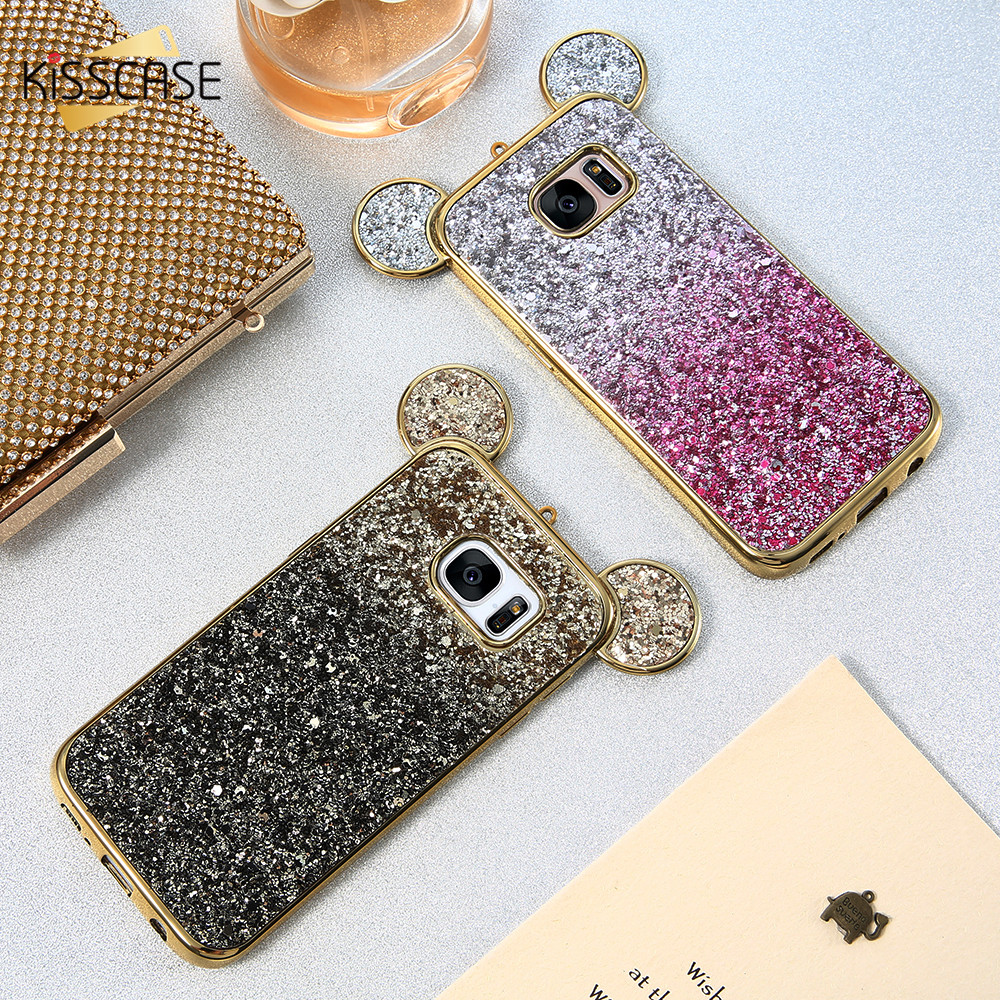 KISSCASE Phone Cases For iPhone 5 5s 6 6s 6 Plus 7 7 Plus Fashion 3D Mickey Mouse Cover Case For Samsung S6 S6 Edge S7 S7 Edge