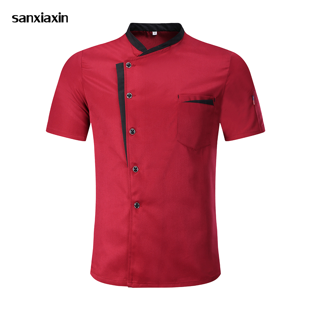 2019 Chef Jacket Hotel Chef's Uniform Short Sleeve Unisex Mesh Breathable Workwear Catering Restaurant Kitchen Bakery Wholesale