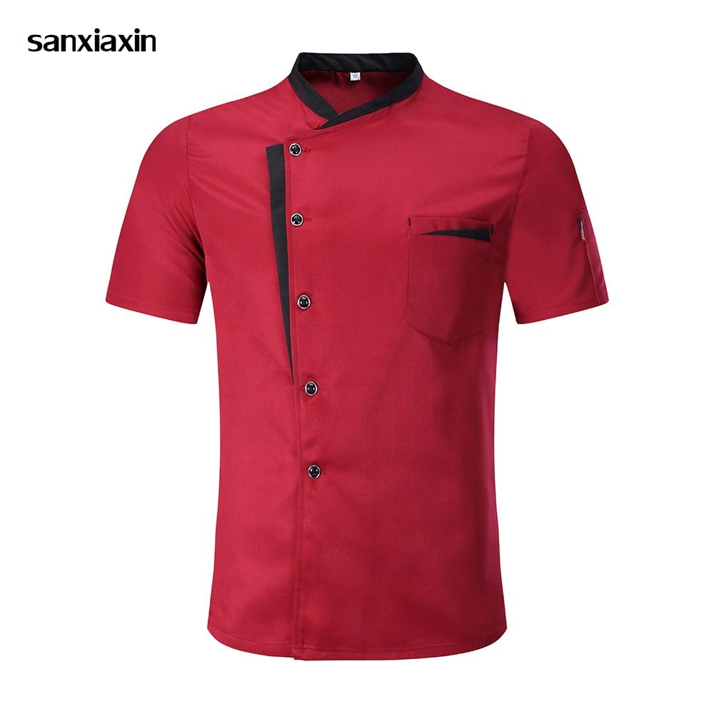 2019 Chef Jacket Hotel Chef's Uniform Short Sleeve Unisex Mesh Breathable Workwear Catering Restaurant Kitchen Bakery Wholesale