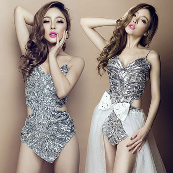 Modern Steel Pipe Jazz Dance Costume DS sequins costumes Night club singer Sexy Bar leader dance Conjoined