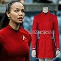 Star Trek За Ухура Cospaly Костюм Star Trek Равномерное Красный Dress с Бесплатный Бейдж Взрослых Женщин Хэллоуин Косплей Костюм