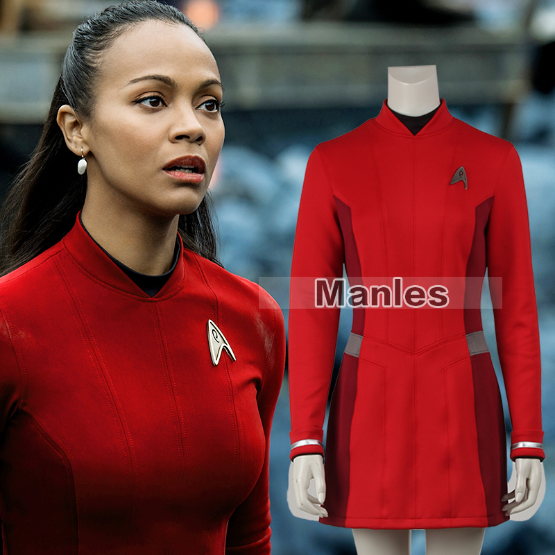 Star Trek Beyond Uhura Cospaly Costume Star Trek Uniform Red Dress with Free Badge Adult Women Halloween Cosplay Costume