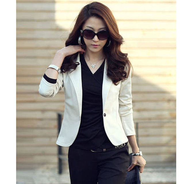 a3e43aeeda042 New Spring Autumn Women's Sexy One Button Small Suit Jackets Women Coat  Blazer Black, Coffee, Pink, Beige, Navy Blue WC148-in Blazers from Women's  Clothing ...