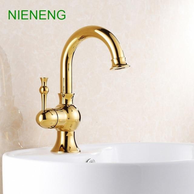 Nieneng Bathroom Faucet Golden Decoration Sink Tap Water Br Antique Style Faucets Gold Color Bath Mixer