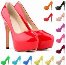Sexy wysoka podeszwa buty na imprezę 2021 nowych kobiet zwięzłe stałe lakierki skórzane szpilki buty moda płytkie buty ślubne kobieta