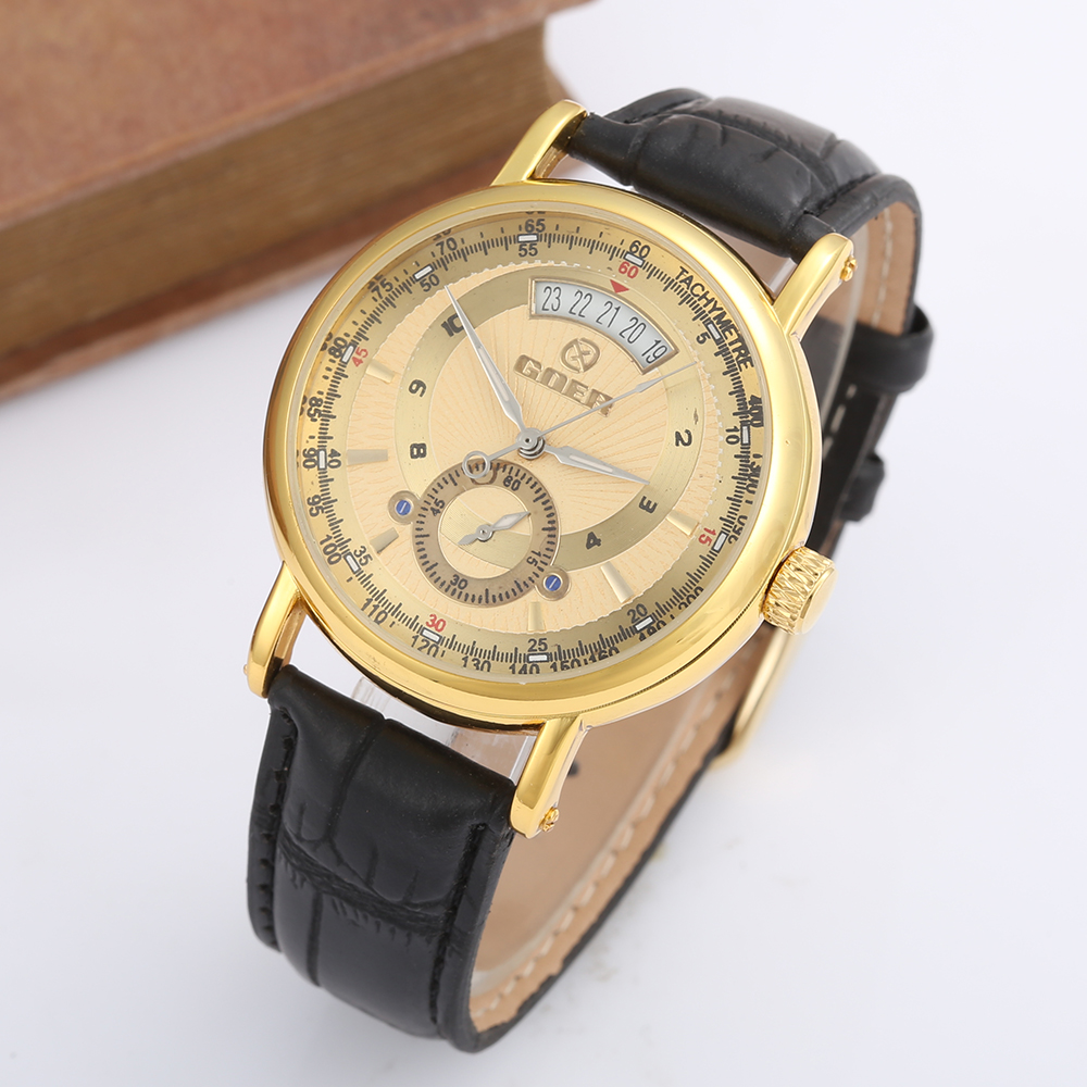 Relogio Masculino Top Brand GOER Watches Men Luxury Gold Automatic Mechanical Watches For Men Fashion Casual Men Wristwatches winner fashion men mechanical watches leather strap gold case 2016 casual brand analog automatic wristwatches relogio masculino
