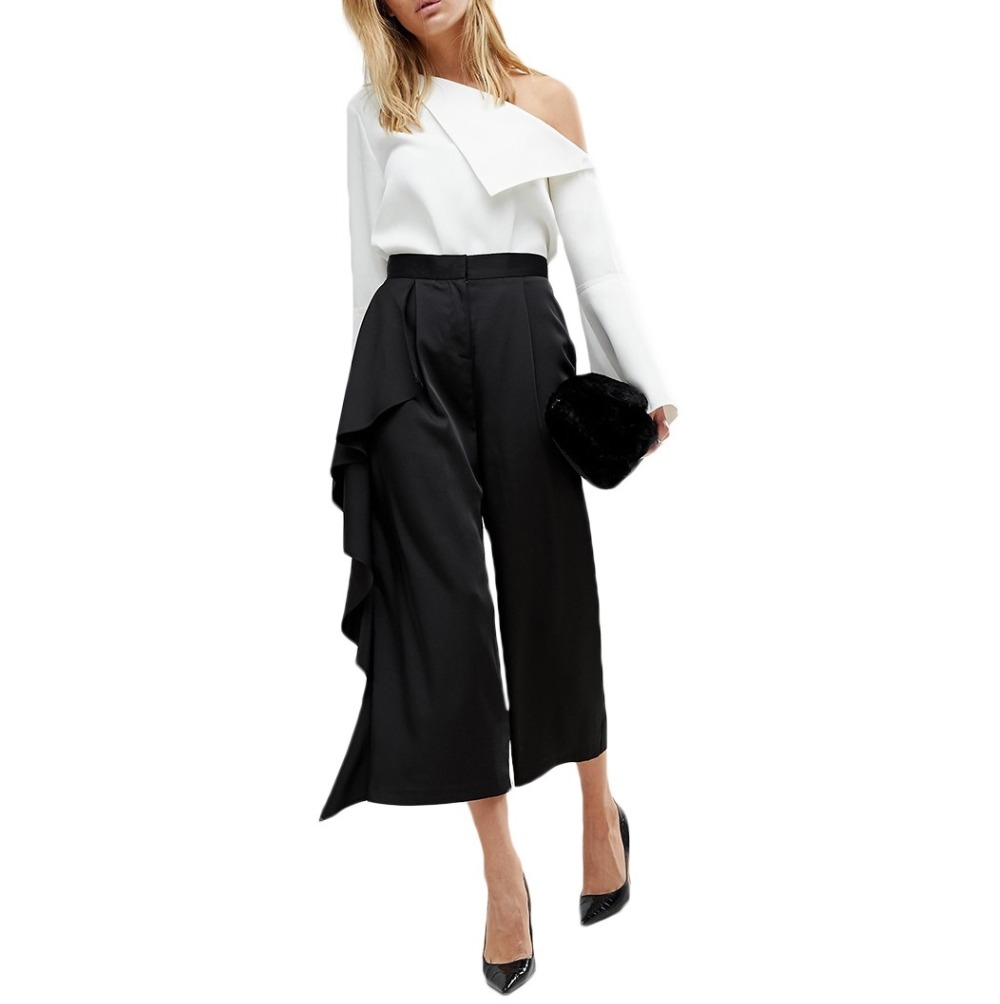 Ruffle Trousers for Women High Waist Wide Leg Pants Female Casual Palazzo Bottoms Large Sizes Clothes Korean Summer 0511-56