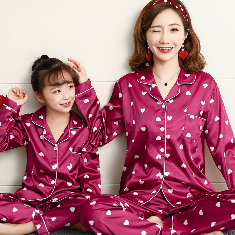 Minuya Boys Girls Pajamas Set Winter Autumn Silk Long Sleeve Nightwear Clothing Set 2 Pieces