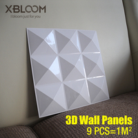 9 PCS 30x30cm 3D Wall Panel Wall Diamond Shiny Star Wood Carving Flower Embossed 3D Pearlescent Color Wedding Decor Wall Sticke