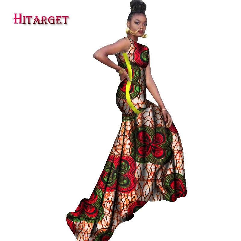 2018 robes africaines pour femmes bazin riche style femme vêtements africains gracieuse dame impression cire grande taille fête longue robe WY1211