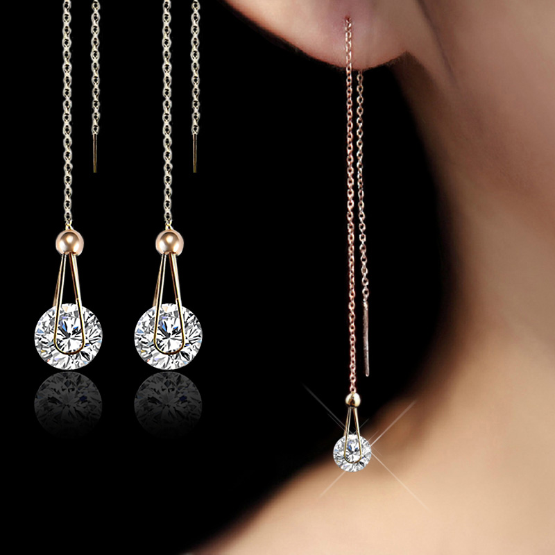 USTAR Water Drop Earrings panjang untuk wanita 2.0ct AAA Putaran cut Cubic Zirconia pernikahan Jewelry stud Earrings perempuan brincos hadiah