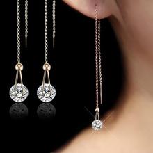 USTAR Water Drop long Earrings for women 2 0ct AAA Round cut Cubic Zirconia wedding Jewelry