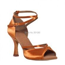 New Women Tan Satin Dance Shoes Latin Ballroom Shoes Salsa Dance Dancing Shoes Tango Shoes all