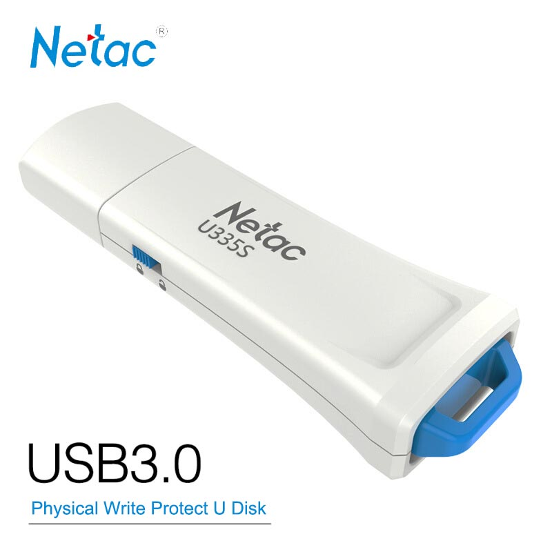Netac USB Flash Drive 16GB 32G 64GB 128GB USB3.0 Physical Write Protection Switcher Hardware Locked Thumb Drive Pen Memory Stick