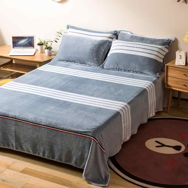 High Quality 100 Polyester Flat Sheet Thick Flannel Bed Sheets For Autumn Winter Cute Printed