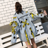 TREND Setter 2018 Spring New Hollow Out Punk Style Denim Jacket Women Metal Ring Bandage Loose Casual Jacket and Coat Oversize