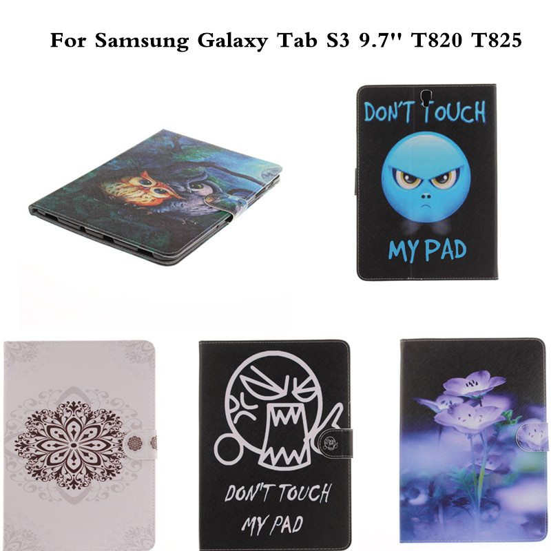 Cute PU Leather Wallet case For Samsung Galaxy Tab S3 9.7 Slim Flip Book Cover For Tab S3 9.7 T820 T825 Tablet Protective cover new fashion tab s3 9 7 tablet case pu leather flip cover for samsung galaxy tab s3 9 7 inch t820 t825 cute stand cover 6 colors