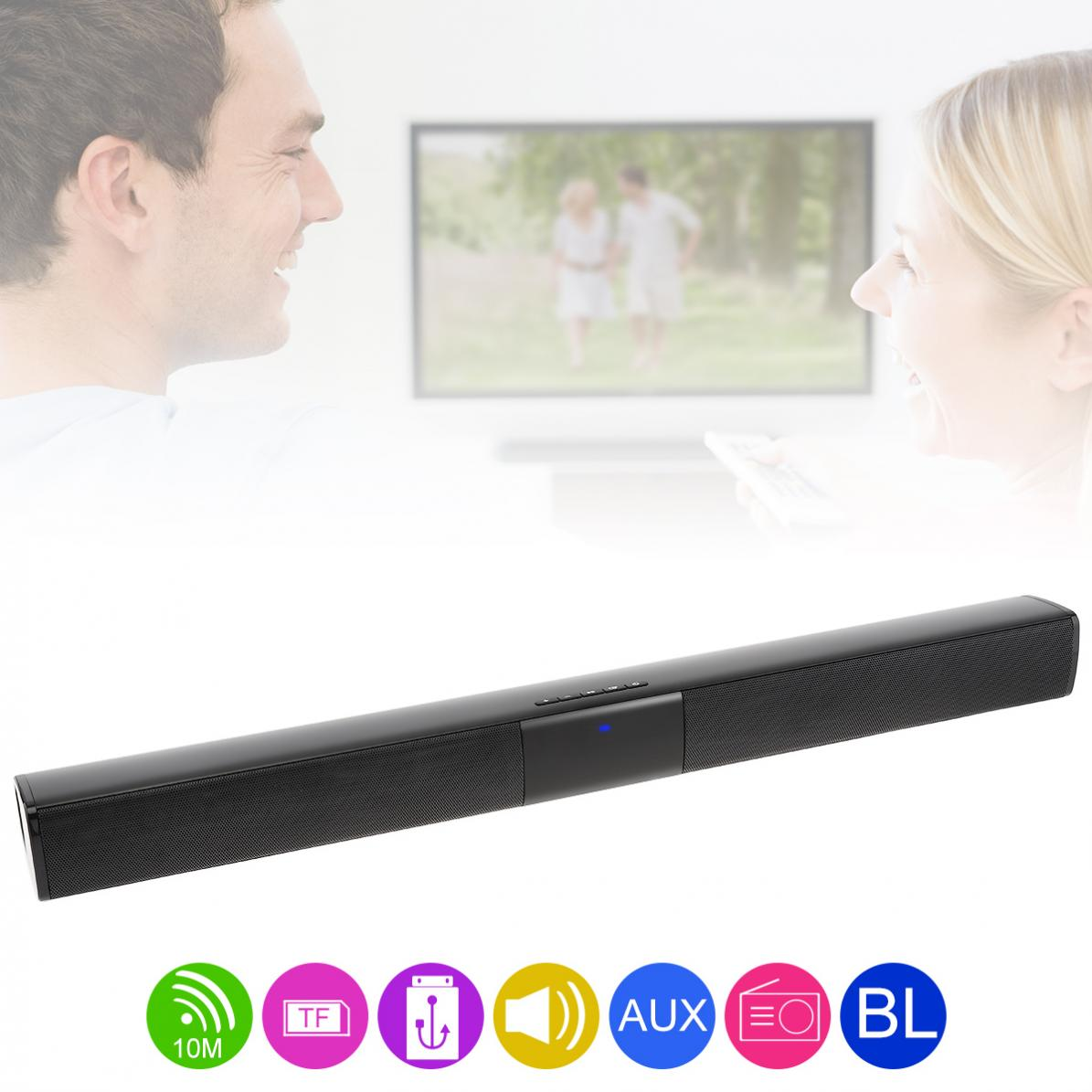 Home Theater Bluetooth Soundbar Speaker with 4 Full Range Horns 3 5mm Audio Input Micro Charging