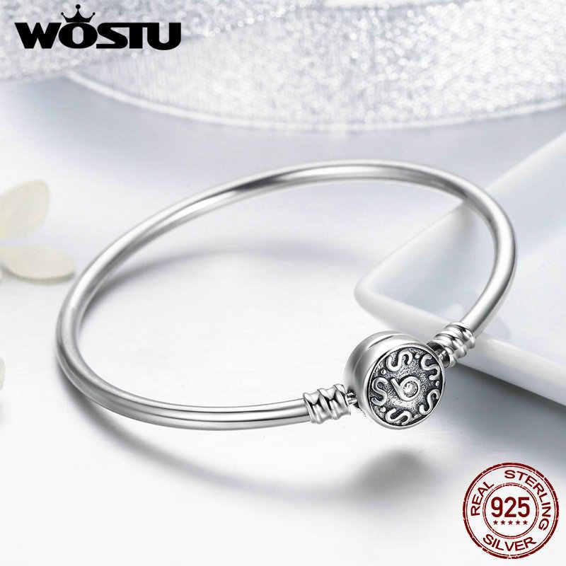 WOSTU 高品質 100% 925 スターリングシルバーヴィンテージパターン S 女性のための Diy チャームブレスレットファッションジュエリー DXB013