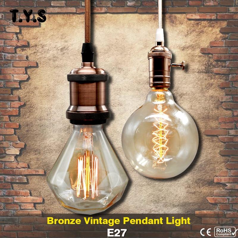 Metal Pendant Light Vintage Bronze Incandescent Bulb E27 LED Socket lamp base holder edison Shade Retro Bulb Iron Socket lampada