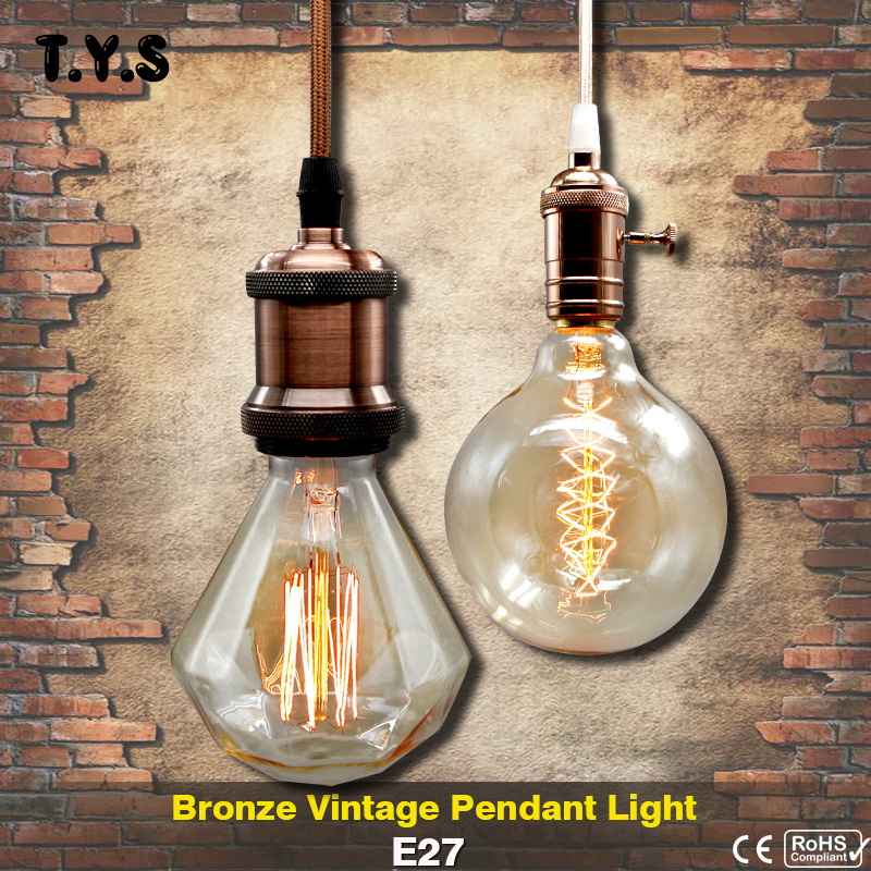 Metal Pendant Light Vintage Bronze Incandescent Bulb E27 LED Socket lamp base holder edison Shade Retro Bulb Iron Socket lampada