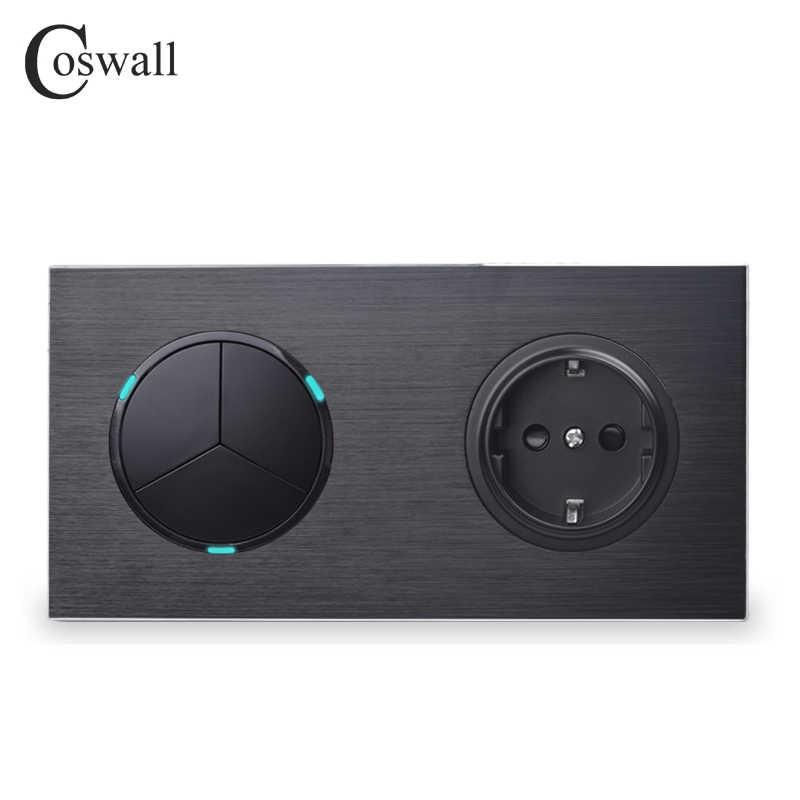 Coswall الأسود الألومنيوم لوحة الاتحاد الأوروبي القياسية مقبس الحائط 3 عصابة 2 طريقة تشغيل/إيقاف تمرير من خلال مفتاح الإضاءة مؤشر LED