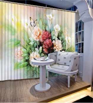 3D Durtains Jade carved flowers butterfly 3D Blackout Curtains For Living room Bedding room Home Window Decoration
