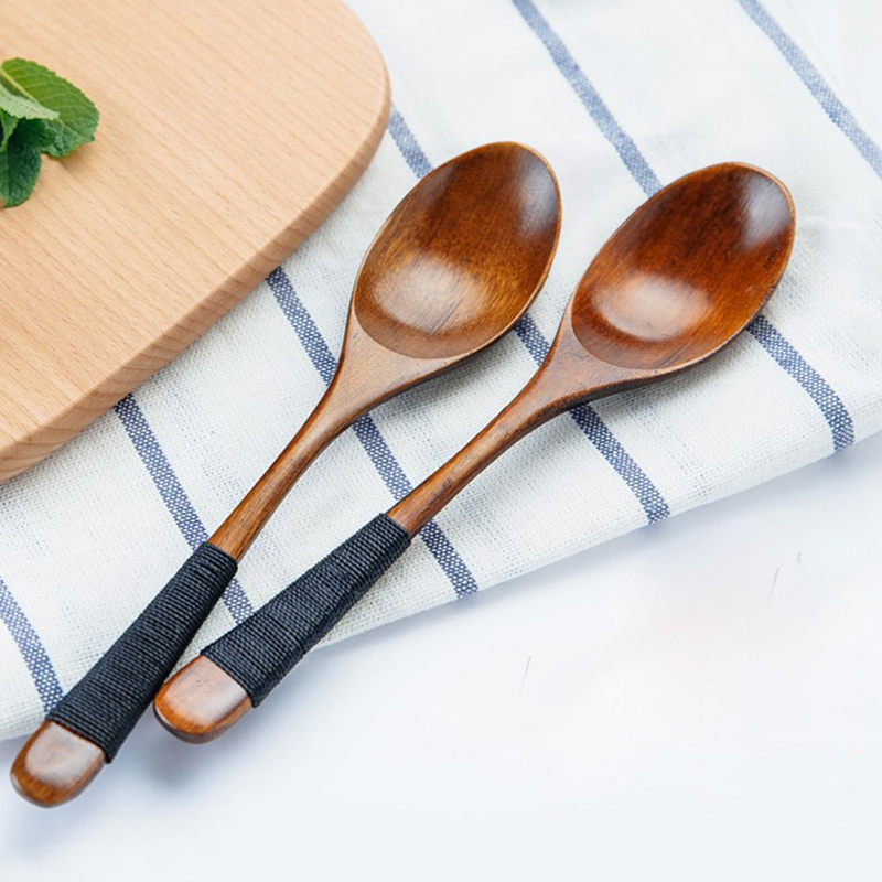 Wooden Cutlery Set Japanese Style Spoon Fork Wood Rice Soup Dessert Spoon Kitchen Dinnerware Set Wooden Tableware (1)