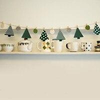 PINJEAS Albero Di Natale Bandiera Banner 180 cm Per La Festa Di Compleanno Baby Shower Feltro Panno Clip di Legno Vetrina di un Negozio di Tenda Decorazione