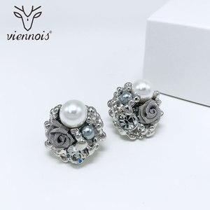Image 3 - Viennes imitacja perły naszyjnik zestaw dla kobiet różowe złoto i srebro stop cynkowy kwiat ślub betonowa Bridal cyrkon biżuteria 2019