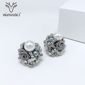 Image 3 - Viennois Simulated Pearl Necklace Set For Women Rose Gold & Silver Zinc Alloy Flower Wedding Paved Bridal Zircon Jewelry 2019