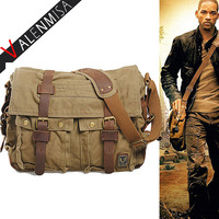 Famous Brand Military Canvas Genuine Leather Men Messenger Bags Vintage Designer Cross Body Bags 14 17
