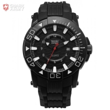 SHARK ARMY Voodoo II Series Black White Men Sport 12Hrs Date Display Waterproof Rubber Band Quartz Military Wrist Watch / SAW209