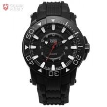 SHARK ARMY Voodoo II Series Black White Men Sport 12Hrs Date Display Waterproof Rubber Band Quartz Military Wrist Watch / SAW209