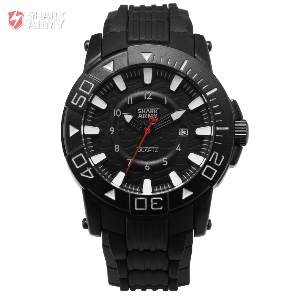 SHARK ARMY Voodoo II Series Black White Men Sport 12Hrs Date Display Waterproof Rubber Band Quartz Military Wrist Watch / SAW209 voodoo ii shark army auto date black silicone strap military wristwatch sports clock men military quartz wrist watches saw177