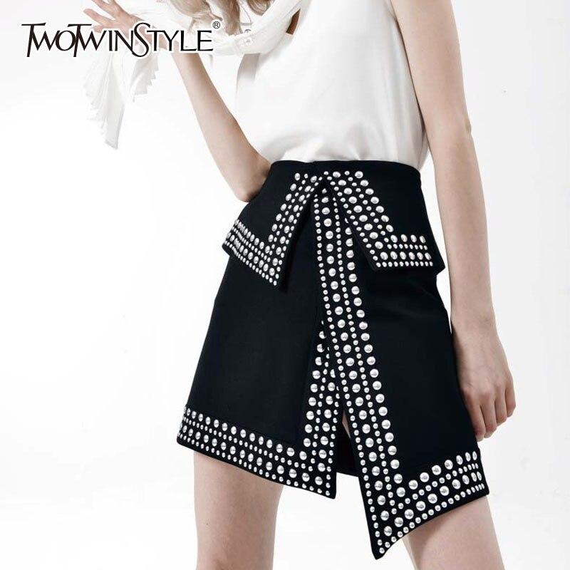 TWOTWINSTYLE Rivet Mini Skirt For Women Patchwork High Waist Split Sexy Irregular Skirts 2019 Summer Fashion